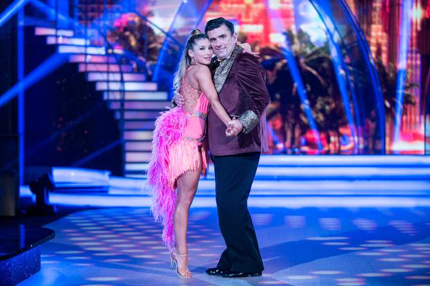 Des Cahill with Ksenia Zsikhotska dancing a Samba to Quando Quando Quando by Engelbert Humperdinck ,during the Switch up week in Dancing with the Stars. kobpix/NO FEE