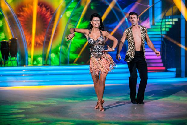 Aidan O'Mahony with Karen Byrne dancing a Samba to Mas Que Nada by Sergio Mendes ,during the Switch up week in Dancing with the Stars. kobpix/NO FEE