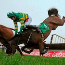Derek O'Connor parts company with Edwulf during The Ten Up Novice Steeplechase at Navan. Photo: Niall Carson/PA Wire