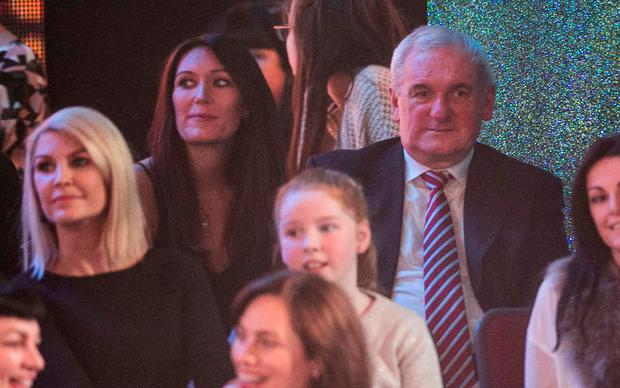 Former Taoiseach Bertie Ahern sitting in the audience with his daughter Georgina for 'Dancing with the Stars'. Photo: Kyran O'Brien