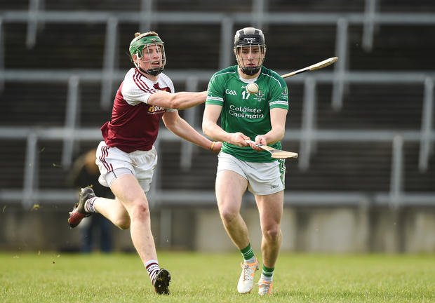 Ross O'Sullivan of St. Colman's Fermoy in action against Brian McGrath of Our Lady's Templemore Photo by Diarmuid Greene/Sportsfile