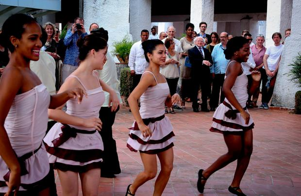President Michael D Higgins visits Escuela Nacional de Danza, Havana, where he was entertained by Irish and Cuban performers on the last day of his state visit. Photos: Maxwells