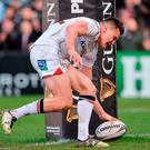 Ulster's Jacob Stockdale goes over to score his side's third try. Photo by Oliver McVeigh/Sportsfile