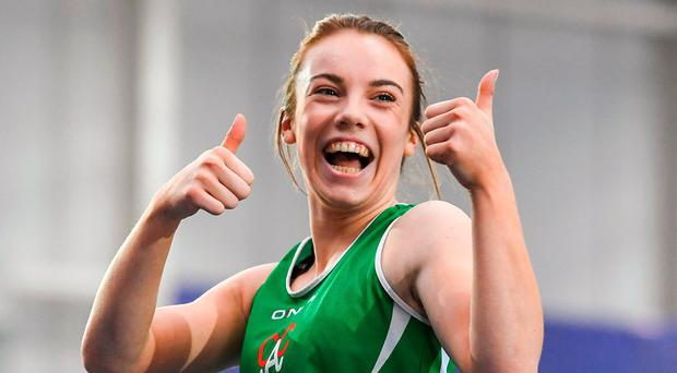 Elizabeth Morland celebrates after winning the women's 60m hurdles final in Abbotstown. Photo by Brendan Moran/Sportsfile