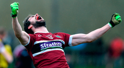 Kevin McKernan of St. Mary's University Belfast celebrates at the final whistle Photo by Matt Browne/Sportsfile