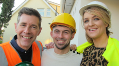 Hannah and James with Dermot Bannon on Room to Improve. Image: RTE