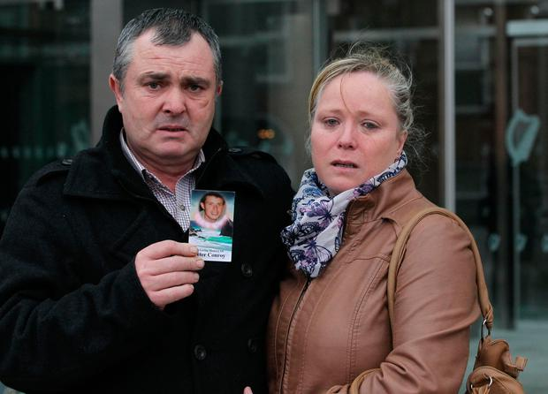 Victims parents pictured Marion and Frank Conroy pictured outside Dublin central criminal court following the sentence of Terence 'Terry' Connors (42) Pic Collins Courts