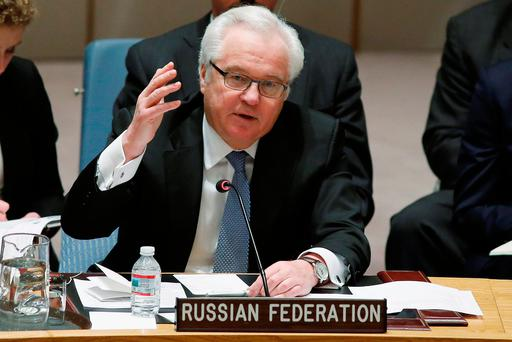 Russian Ambassador to the United Nations Vitaly Churkin addresses members of the U.N. Security Council during a meeting about the Ukraine situation, at the U.N. headquarters in New York, March 6, 2015. REUTERS/Eduardo Munoz/File Photo
