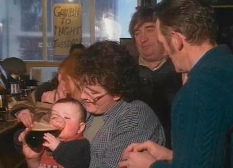 Steven as a baby with his Guinness on RTÉ's 'Nationwide'
