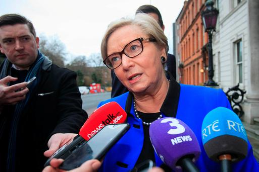 Tánaiste Frances Fitzgerald speaking to the media yesterday. Photo: Gareth Chaney