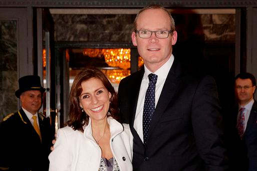 Simon Coveney with his wife Ruth at the wedding. Photo: Gerry Mooney