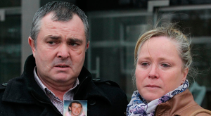 Devastated parents Frank and Marion Conroy with a picture of their son, Peter, who was killed during a brawl in a B&B