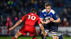 17 February 2017; Dan Leavy of Leinster in action against Duncan Weir of Edinburgh during the Guinness PRO12 Round 15 match between Leinster and Edinburgh at the RDS Arena in Ballsbridge, Dublin. Photo by Stephen McCarthy/Sportsfile