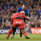 19 December 2015; Rob Kearney, Leinster, is tackled by Mathieu Bastareaud, Toulon. European Rugby Champions Cup, Pool 5, Round 4, Leinster v RC Toulon. Aviva Stadium, Lansdowne Road, Dublin. Picture credit: Stephen McCarthy / SPORTSFILE
