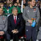 SUTTON, GREATER LONDON - FEBRUARY 20: Arsenal manager Arsène Wenger looks nervous on the bench before the Emirates FA Cup Fifth Round match between Sutton United and Arsenal at Gander Green Lane on February 20, 2017 in Sutton, Greater London. (Photo by Craig Mercer - CameraSport/CameraSport via Getty Images)