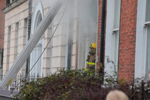 Scene of the fire on Mountjoy Square. Pic: Gerry Mooney