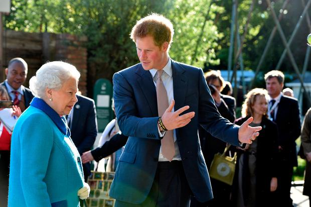 Queen Elizabeth II and Prince Harry attend at the annual Chelsea Flower show at Royal Hospital Chelsea on May 18, 2015 in London, England. (Photo by Julian Simmonds - WPA Pool / Getty Images)