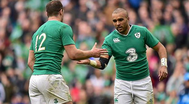12 March 2016; Ireland's Simon Zebo, right, and Robbie Henshaw celebrate their side's victory at the final whistle. RBS Six Nations Rugby Championship, Ireland v Italy. Aviva Stadium, Lansdowne Road, Dublin. Picture credit: Ramsey Cardy / SPORTSFILE