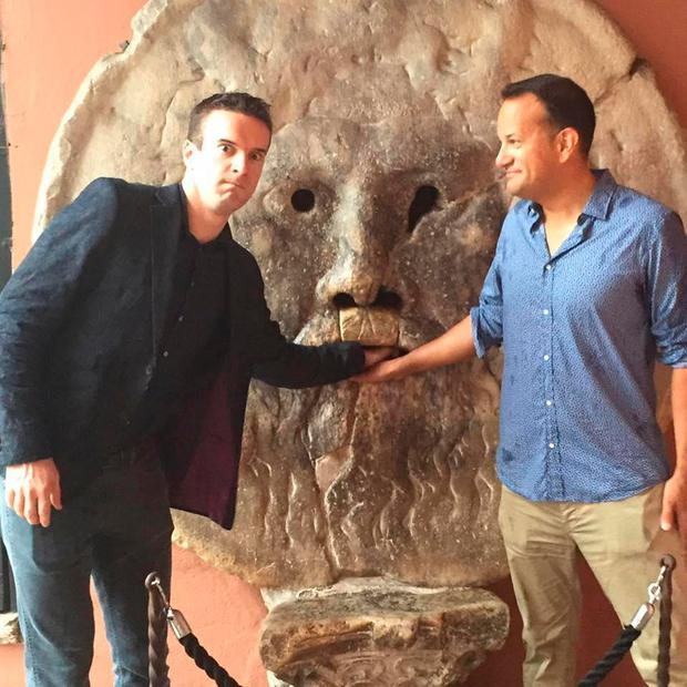 Matthew Barrett (left) and Leo Varadkar pictured on holidays