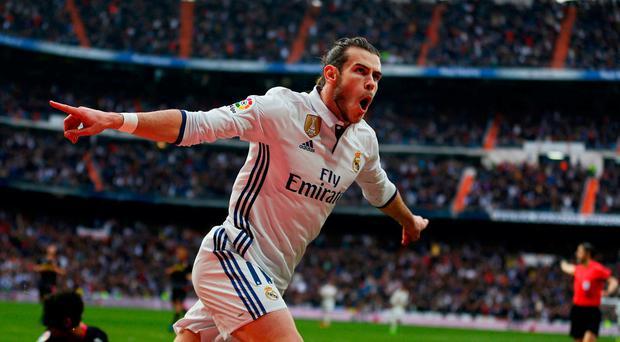 Real Madrid's Gareth Bale celebrates after scoring at the weekend