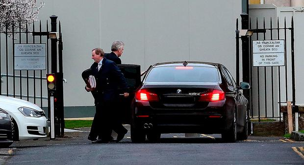 Taoiseach Enda Kenny arriving for the Cabinet meeting at Government Buildings yesterday. Photo: Tom Burke