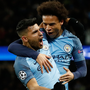 Flair City: Manchester City's Sergio Aguero celebrates scoring his side's third goal with Leroy Sane during last night's thrilling Champions League clash at the Etihad. Photo: PA