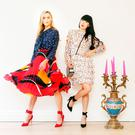 Sarah Morrissey is pictured right wearing a star print blouse, €41, a pleated midi skirt, €47, and wrap-heeled shoes, €47, while Yomiko Chen wears a printed ruffle dress, €74, wrap-heeled shoes, €47, and mono-stripe crossbody bag, €34. Photo: Leon Farrell/Photocall Ireland