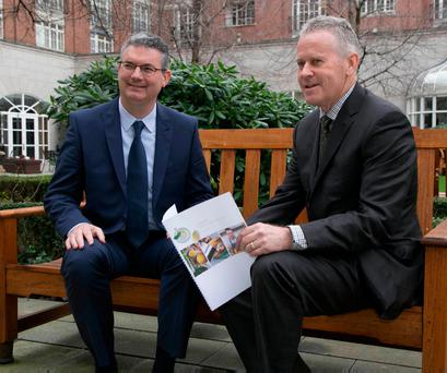 Edmund Scanlon (left) has been appointed chief executive designate to succeed Stan McCarthy (right) as chief executive of Kerry Group. Photo: Fennell Photography