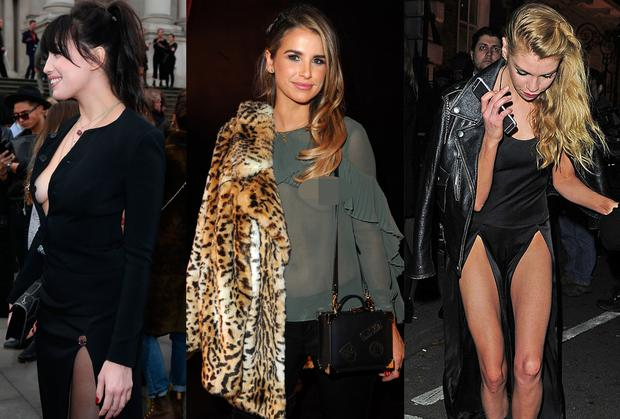 (L to R) Daisy Lowe, Vogue Williams and Stella Maxwell at London Fashion Week
