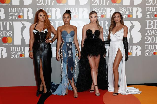 (L-R) Jesy Nelson, Leigh-Anne Pinnock, Perrie Edwards and Jade Thirlwall of Little Mix attend The BRIT Awards 2017 at The O2 Arena on February 22, 2017 in London, England. (Photo by John Phillips/Getty Images)