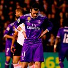 Real Madrid's Welsh forward Gareth Bale looks downwards during the Spanish league football match Valencia CF vs Real Madrid