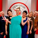 'Operation Transformation' presenter Kathryn Thomas, centre, with, from left, Chris McElligott, Yvonne Keenan-Ross, Marie Grace, Mairead Redmond and Sean Daly. Photo: Andres Poveda