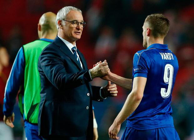 Leicester City's Jamie Vardy and Leicester City manager Claudio Ranieri after the match. REUTERS