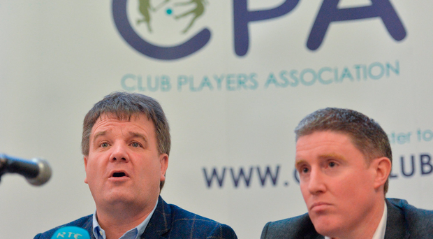 Declan Brennan, Secretary CPA, left, and Micheal Briody Chairman CPA, at the official launch of the Club Players Association Photo by Piaras Ó Mídheach/Sportsfile