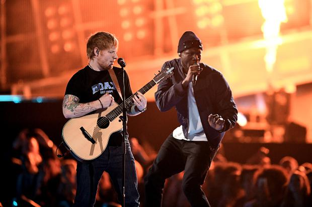 Ed Sheeran and Stormzy perform on stage at The BRIT Awards 2017 at The O2 Arena on February 22, 2017 in London, England. (Photo by Gareth Cattermole/Getty Images)