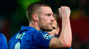 Leicester City's Vardy celebrates after scoring against Sevilla. Photo: Jorge Guerrero/Getty Images