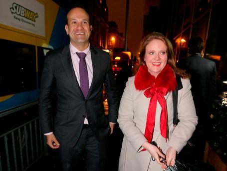 Leo Varadkar and Catherine Noone arrive for a charity event at Medley restaurant on Fleet Street last night. Photo: Gerry Mooney
