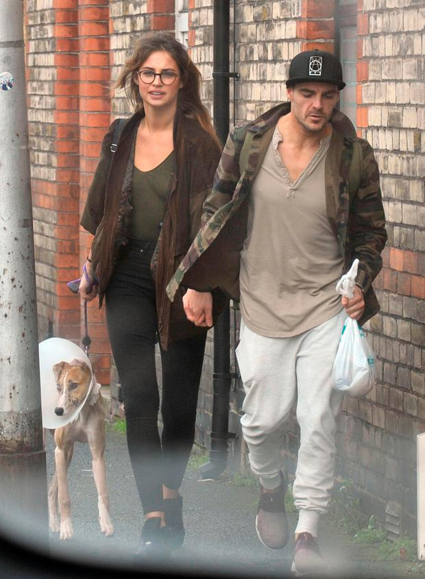 Model Thalia Heffernan seen out walking her dog and new boyfriend professional dancer Ryan McShane,who she met on the show. Picture: John Dardis