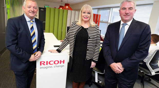 Pictured at the opening of Ricoh's new Irish headquarters in Airside Business Park, Swords, Co. Dublin are (L to R) Gary Hopwood, General Manager, Ricoh Ireland; Minister for Jobs, Enterprise & Innovation, Mary Mitchell O'Connor TD; and Phil Keoghan, CEO, Ricoh UK and Ireland