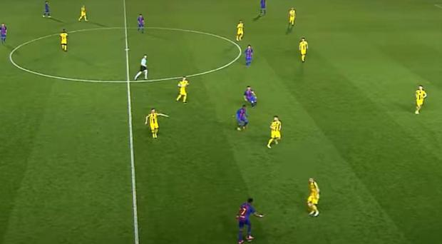 Jordi Mboula picked the ball up near the halfway line and out on the right wing: Pic - Barca TV