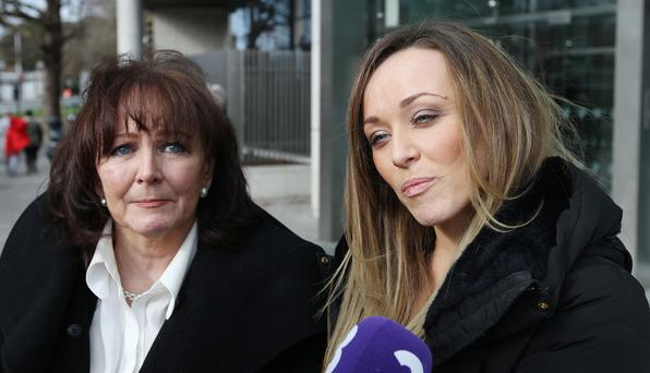 23/02/17Eugene Maher's widow, Marie, and daughter Lisa speak to the media outside Dublin appeals Courts after DPP won appeal against Christopher Coleman (27) Pic Collins Courts