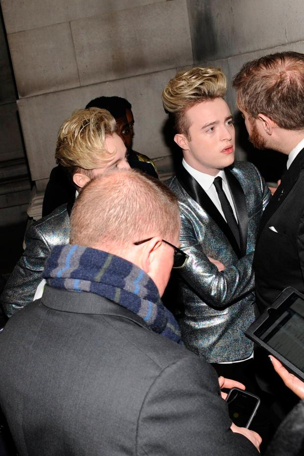 Jedward turned away from the BRIT Awards Warner Music Group party in London. Picture: FameFlynet UK ©