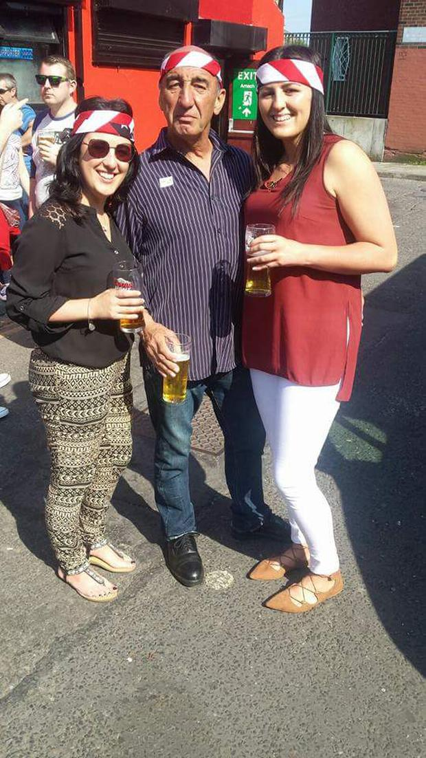 Larry pictured with his daughters Jennifer and Emma at a Bruce Springsteen concert