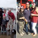 Larry pictured with his daughters and nephew Adam (left), centre Larry with daughter Jennifer and Emma as t Bruce Springsteen concert (centre), Larry at a family wedding (right)