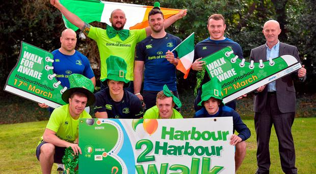 Luke McGrath, Josh van der Flier, Dan Leavy, Nick McCarthy, and back row, from left, Richardt Strauss, Hayden Triggs, Mick Kearney, Peter Dooley and Eamonn O'Reilly, far right, Chief Executive Dublin Port at the launch the Aware Harbour2Harbour Walk. Photo: Cody Glenn/Sportsfile