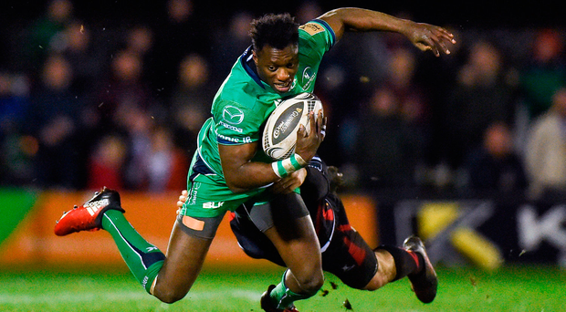 Niyi Adeolokun is tackled by Pat Howard of Newport Gwent Dragons in the first game this season that Connacht have managed to prevent the opposition crossing the line Diarmuid Greene/Sportsfile