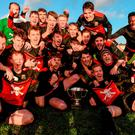 UCC's players celebrate after beating UCD 2-1 in the Collingwood Cup final in Maynooth. Photo: Eóin Noonan/Sportsfile