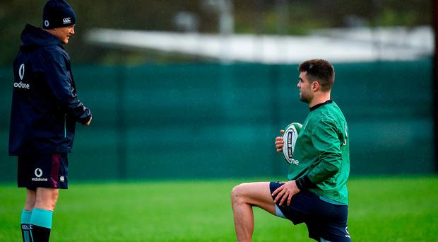Joe Schmidt speaks with Conor Murray who will be a key player for Ireland's chances against France. Photo: Seb Daly/Sportsfile