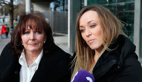 Eugene Maher's widow, Marie, and daughter Lisa outside court Picture: Collins
