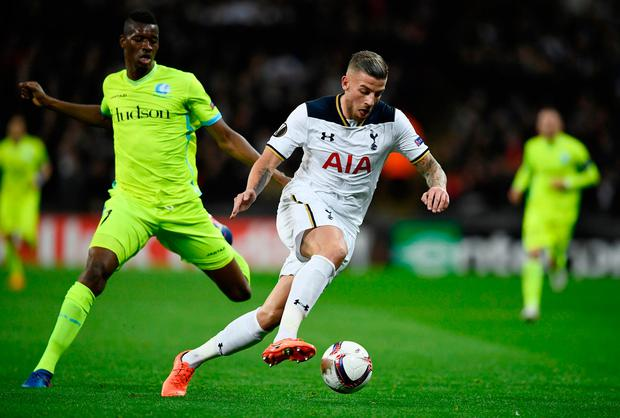 Gent's Kalifa Coulibaly in action with Tottenham's Toby Alderweireld. Photo: Reuters